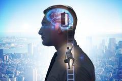 Biznesmena otwarcia drzwi sztuczna inteligencja zdjęcie stock