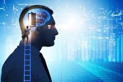 Biznesmena otwarcia drzwi sztuczna inteligencja zdjęcie royalty free