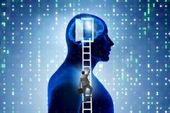 Biznesmena otwarcia drzwi sztuczna inteligencja obrazy royalty free