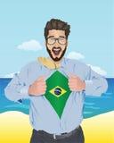 Biznesmena otwarcia koszula wyjawiać brazylijską flaga Zdjęcie Royalty Free