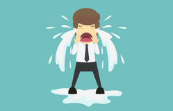 biznesmena płakać smutny Kreskówka biznesowy fail jest pojęciem o Obraz Stock