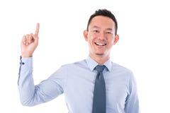 Biznesmena palec wskazuje up Obrazy Stock