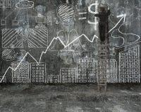 Biznesmena pięcie na drabinie i rysunkowym biznesowym pojęcia dood Obrazy Stock