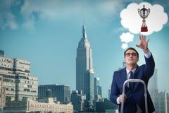 Biznesmena pięcie w kierunku jego biznesowego celu Zdjęcia Stock