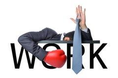 Biznesmena poddanie z pracą przedstawienie ręką up z szyja krawatem Obraz Stock