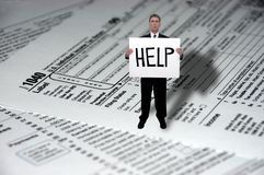 biznesmena pojęcia form pomoc potrzeby podatek Obrazy Stock