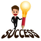 Biznesmena pomyślny pojęcie i lightbulb ołówek Fotografia Royalty Free