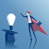 Biznesmena pomysł i czarownik royalty ilustracja