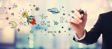Biznesmena pomysłu rakiety rysunkowy pojęcie fotografia royalty free