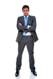 biznesmena popielaty odosobniony prążka kostium Zdjęcia Stock