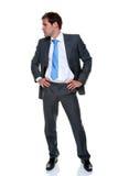 biznesmena popielaty odosobniony prążka kostium Zdjęcie Stock