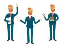 Biznesmena postać z kreskówki w różnych pozach dla biznesowego prezentacja wektoru setu Pomyślny mężczyzna pokazuje i mówi Obraz Stock