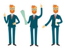 Biznesmena postać z kreskówki w różnych pozach dla biznesowego prezentacja wektoru setu Pomyślny mężczyzna pokazuje i mówi Zdjęcia Stock