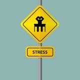 Biznesmena poważnie nacisk w miejscu pracy Piktogram ikona z stresów sformułowaniami na drogowym znaku Zdjęcia Royalty Free