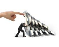 Biznesmena powstrzymywania spada dolarowi symbole z kobiety ręki pomocą Fotografia Stock