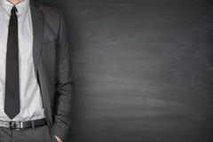 Biznesmena przód Blackboard obraz royalty free