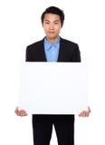 Biznesmena przedstawienie z białą deską Zdjęcia Stock