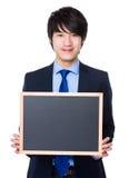 Biznesmena przedstawienie z chalkboard Zdjęcia Stock