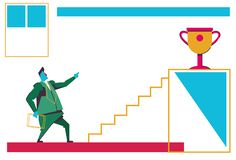 Biznesmena przyglądającego drabinowego podium trofeum złota filiżanka najpierw umieszcza mistrz motywaci pojęcia biznesmena bizne ilustracja wektor