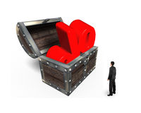 Biznesmena przyglądający czerwony odsetek podpisuje wewnątrz skarb klatkę piersiową Zdjęcia Stock