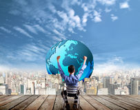 Biznesmena przyglądający sukces przyszłość Zdjęcia Stock