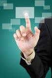 Biznesmena ręki macania guzik Zdjęcia Royalty Free