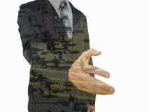 biznesmena ręki uścisk dłoni jego ofiara Powitanie lub gratulowanie gest zdjęcia stock