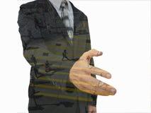 biznesmena ręki uścisk dłoni jego ofiara Powitanie lub gratulowanie gest fotografia stock