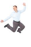 biznesmena radości doskakiwanie Zdjęcia Stock