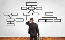 Biznesmena rozwi?zania w?tpliwy szuka poj?cie z organizacyjn? map? obraz royalty free