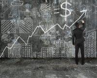 Biznesmena rysunkowy biznesowy pojęcie doodles na stary betonowy wal Zdjęcia Stock