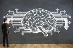 Biznesmena rysunkowy mózg na chalkboard ścianie Zdjęcia Stock