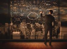 Biznesmena rysunkowy plan biznesowy Zdjęcie Royalty Free