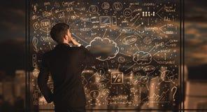 Biznesmena rysunkowy plan biznesowy Zdjęcie Stock
