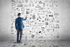 Biznesmena rysunkowy plan biznesowy, wykres, mapa zdjęcie stock