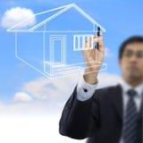 Biznesmena rysunku dom Zdjęcia Stock