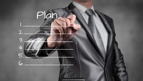 Biznesmena rysunku plan, strategia biznesowa Fotografia Stock