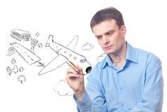 biznesmena rysunku samolot Zdjęcie Stock