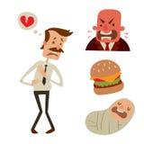 Biznesmena ryzyka mężczyzna ataka serca stresu kierowego infarct wektorowy ilustracyjny dymienie pije alkohol szkodliwą depresję Zdjęcie Stock