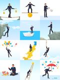 Biznesmena ryzyka wektorowy mężczyzna w ryzykowny lub niebezpieczny biznesowym zaczyna up wyzwania ilustracyjnego ustawiającego f royalty ilustracja
