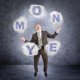 Biznesmena słowa kuglarski pieniądze obraz stock