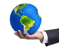 Biznesmena ` s ręki mienia ziemi planeta Zdjęcie Royalty Free