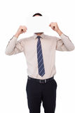 Biznesmena seansu karta przed jego głową Zdjęcie Stock