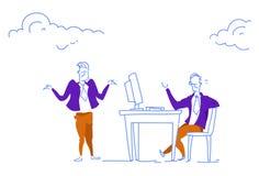 Biznesmena siedzącego biurka miejsca pracy pracownika i szefa komunikacyjnego pojęcia biurowy horyzontalny nakreślenie doodle ilustracji
