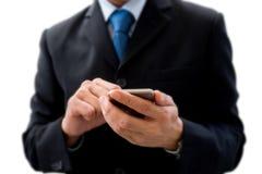 biznesmena smartphone używać Fotografia Royalty Free