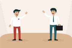 Biznesmena spotkania ręka i rozmowa up to mówimy do widzenia ilustracja wektor