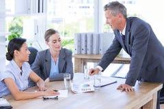 Biznesmena spotkanie z kolegami używa laptop Zdjęcia Stock
