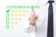 Biznesmena stuknięcia pojęcia klienta oceny wiadomość, Pięć złoty s zdjęcie stock