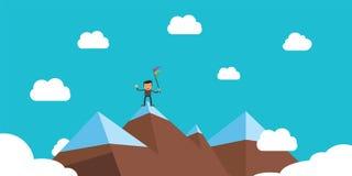 Biznesmena sukces na szczytowym występie ilustracja wektor