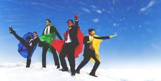 Biznesmena Superheros inspiraci przywódctwo sukcesu pojęcie obrazy stock
